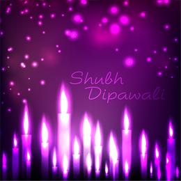 Purple candle diwali design