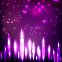 Vela morada diseño diwali