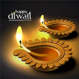 Diwali diseño con velas