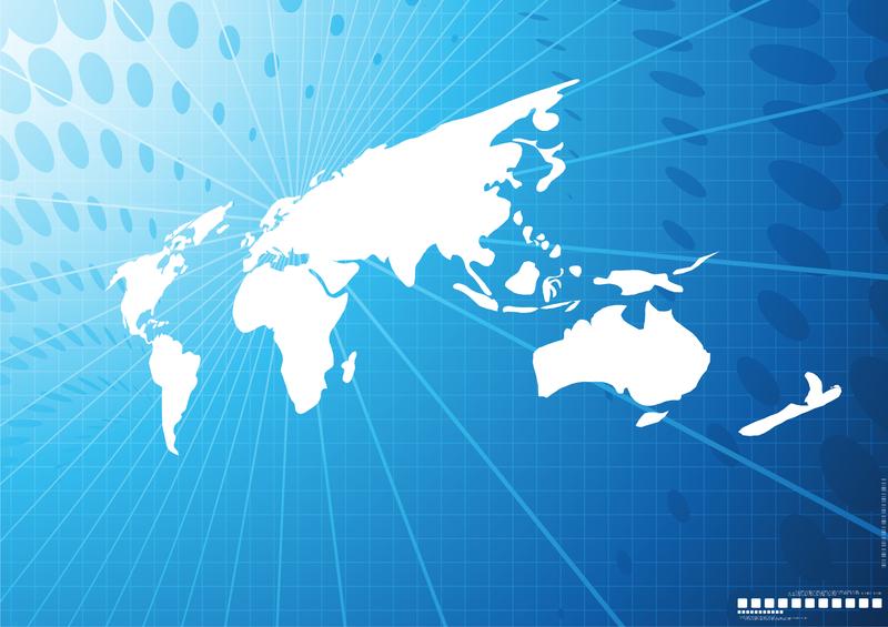 Ilustración de mapa mundial con puntos y líneas