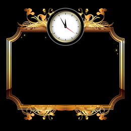 Golden frame with clock