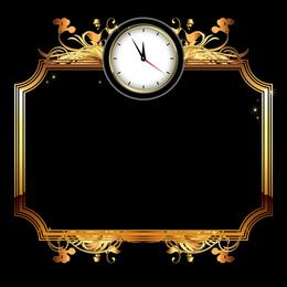 Moldura dourada com relógio