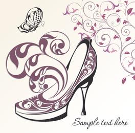 Ornamented high-heel shoe