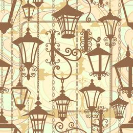 Lámparas colgantes ilustradas patrón