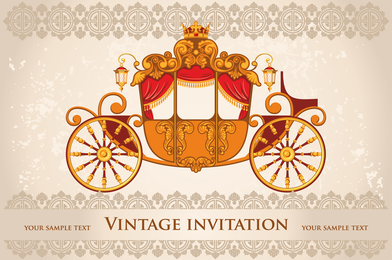 Vintage invitation with carriage