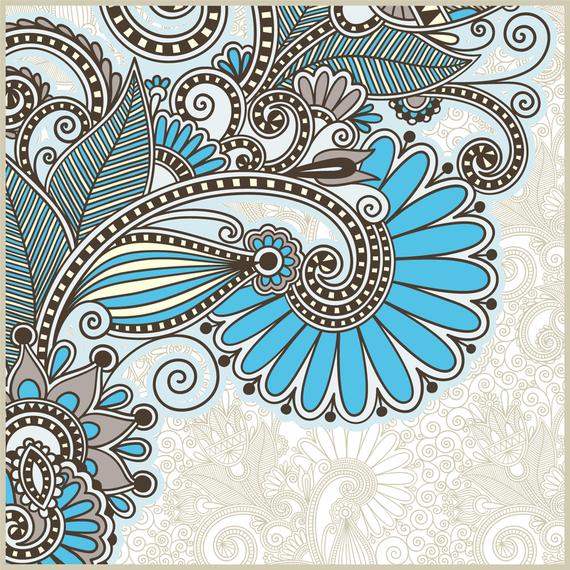 Flor decorativa ornamental y hoja.