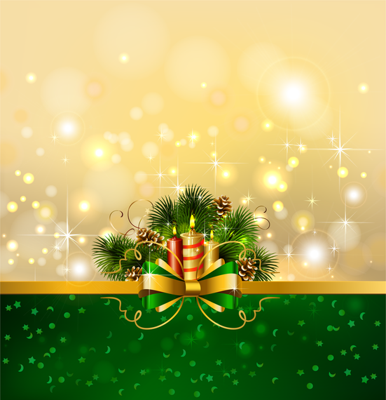 Christmas background with candle and ribbon