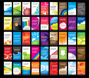 Colorful business card collection set