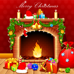 Christmas fireplace with ornaments and gifts