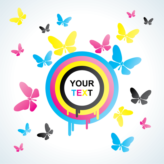 CMYK butterfly silhouettes design