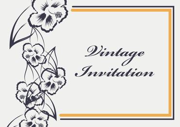 Convite vintage com flores