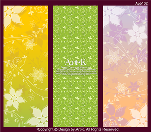 Abstract floral vertical banner set