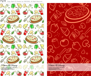 Pizza pattern design set