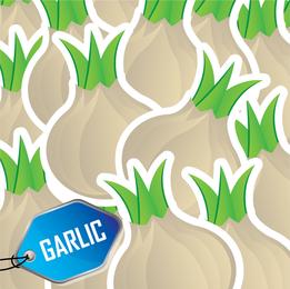 Patrón de ilustración de ajo con etiqueta