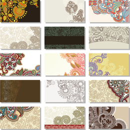 Business cards collection with paisley
