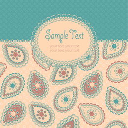 Pastel paisley design with label