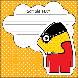 Cartoon label illustration with text