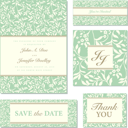 Delicate green wedding invite template