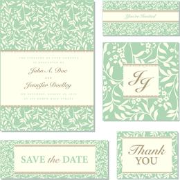 Modelo de convite de casamento verde delicado