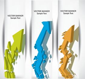 Conjunto de 3 banners verticais de seta