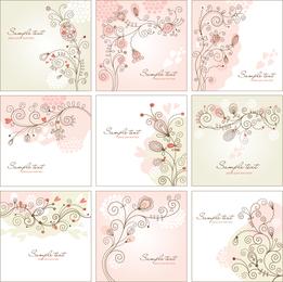 Pink invitation set with swirls