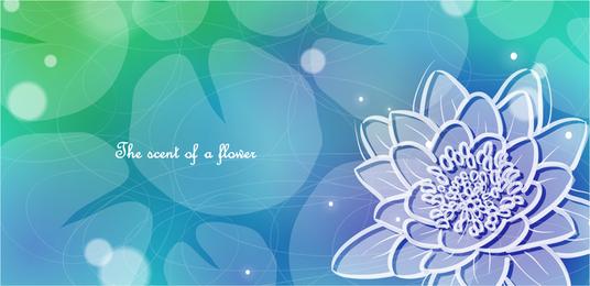 Ilustración de flor con fondo verde azul
