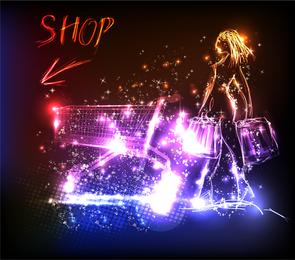 Ilustração de carrinho de compras de mulher de néon