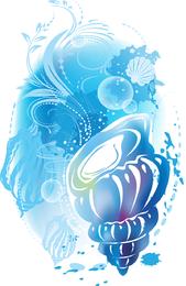 Watercolor shell design in blue