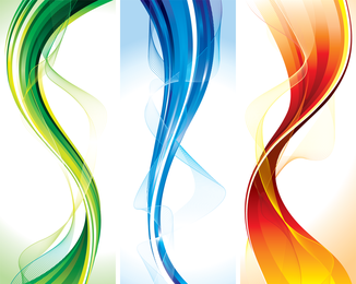 3 banners de fluxo em cores