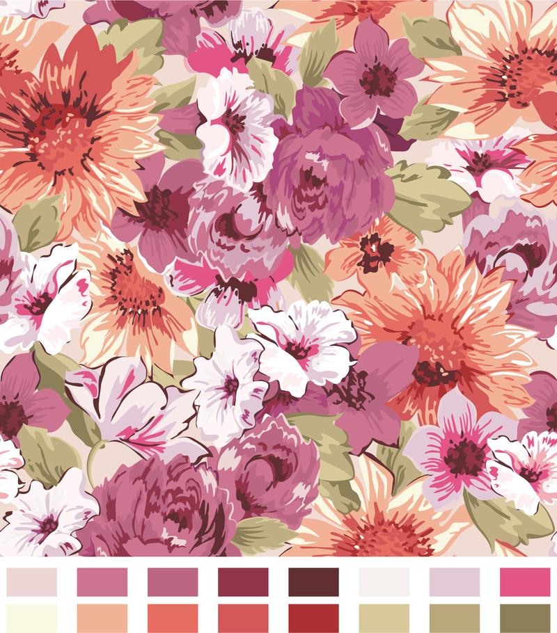 Floral Pattern Design With Color Palette Vector Download