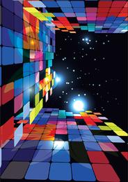 Fondo de mosaico nocturno en 3D