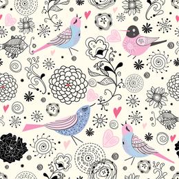 Hand-drawn bird doddle wallpaper