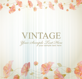 Vintage retro flower frame with text