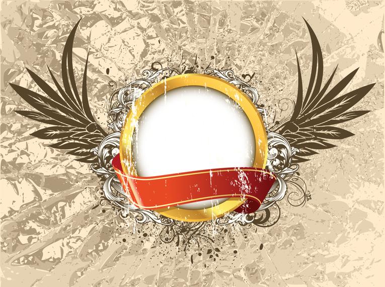Marco de la vendimia con el diseño de las alas - Descargar vector