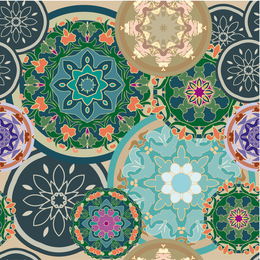 Colorful floral mandalas design