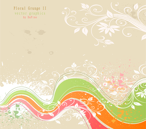 Wavy Floral Grunge Background