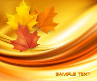 Folhas de outono realistas sobre pano de fundo abstrato