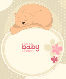 Baby shower cat invitation