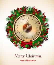 Diseño navideño con reloj antiguo.