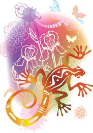 Lagarto e ilustração de flores