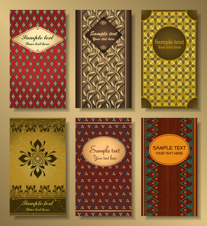 Vertical business cards set with patterns vector download vertical business cards set with patterns download large image 800x872px colourmoves
