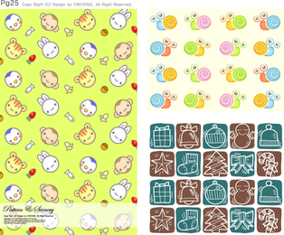 Cute adorable illustrated pattern set