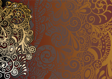 Paisley background with silhouettes