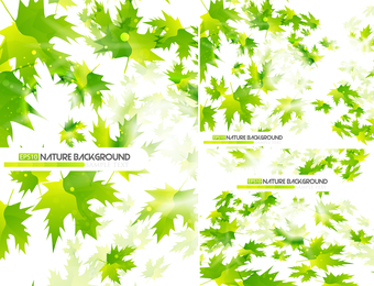 Set of green leaves backgrounds
