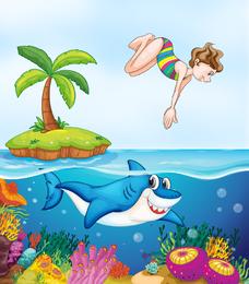 Paisagem marinha ilustrada com mergulhador