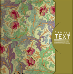 Illustrated floral pattern with olive space for text