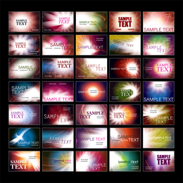Abstract waves business card collection