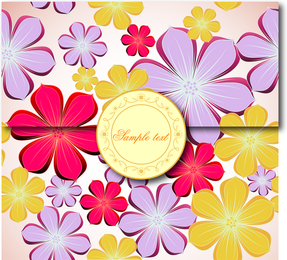 Sobre de flores de colores brillantes.
