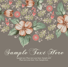 Hand painted flowers design with text