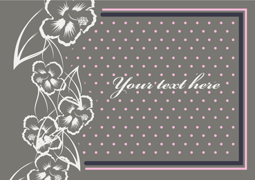 Vintage invitation with flowers and dots